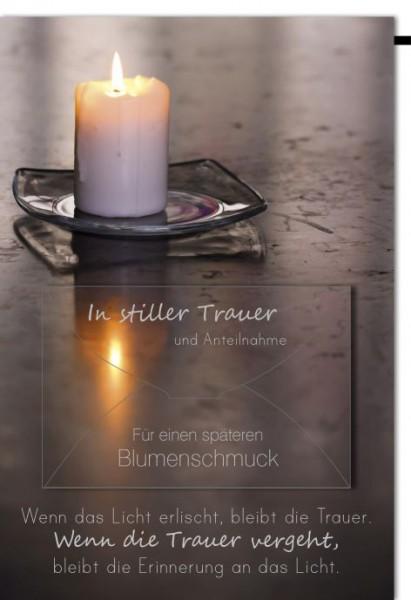 Karte Trauer Geldschein Kerze auf Glasuntersetzer