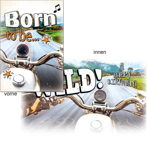 Geburtstagskarte mit Musik, Din A5 - Born to be Wild, Motorrad