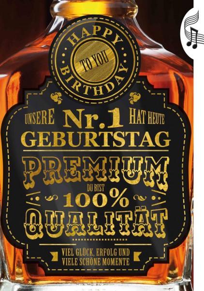 """Geburtstagskarte mit Musik & Licht """"Premium Whisky"""", Din A5 - Einzigartig"""