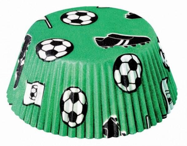 Backförmchen für Muffins grün Fußballmotiv