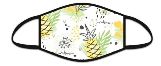 Mund Nasen Maske aus Stoff, Motiv Ananas, waschbar bis 70°, kein Medizinprodukt