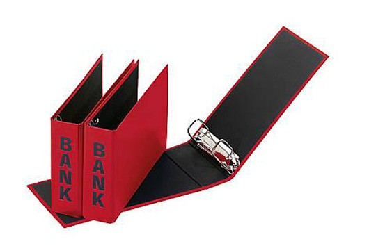 Bankordner, Ordner für Kontoauszüge 25 x14cm, rot