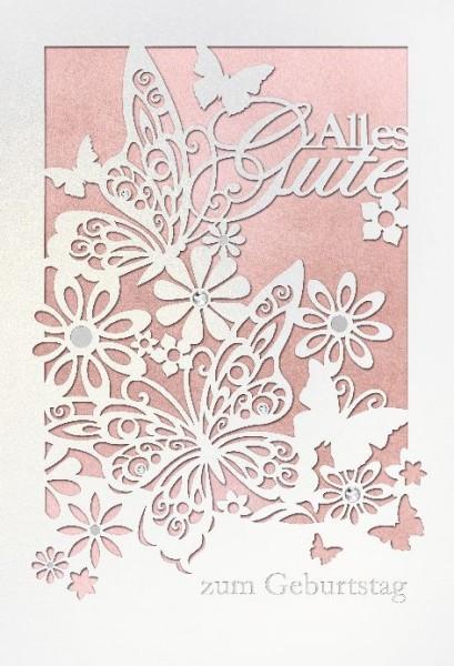 Karte Geburtstag Motiv Schmetterling Blumen