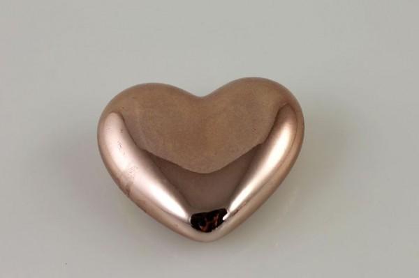 Deko Herz aus Porzellan liegend kupfer 7,5x2cm