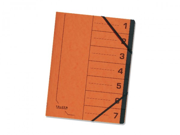 Ordnungsmappe A4 Gummizug Colorspan 7Fächer orange