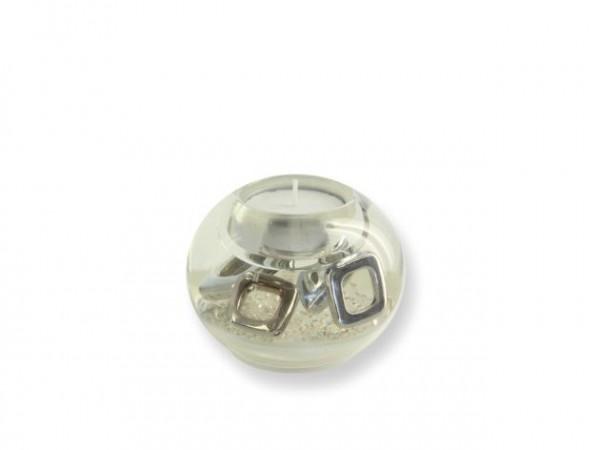 Teelicht in Glas Kugel weiß mit silber Ornamente