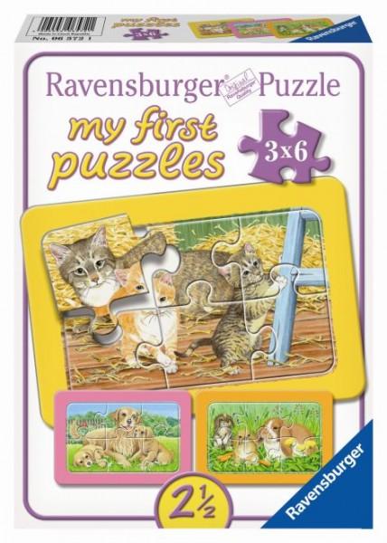 Puzzle Holz 3x6 Teile Liebste Haustiere
