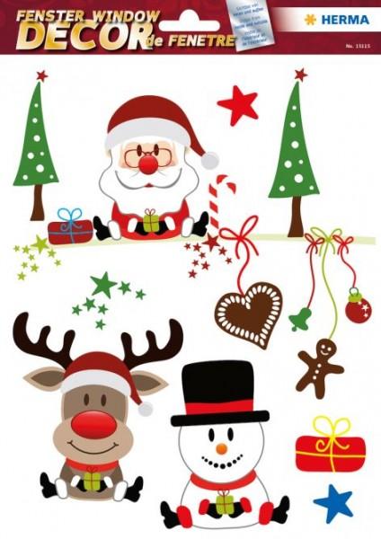 Fensterbild, Fensterschmuck Weihnachten, Lebkuchen u. Baum, Bunt, Herma 15114