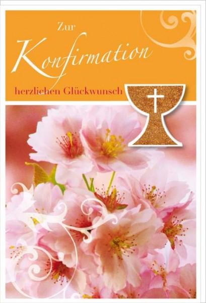 Karte Konfirmation Motiv Krischblüten Glimmer