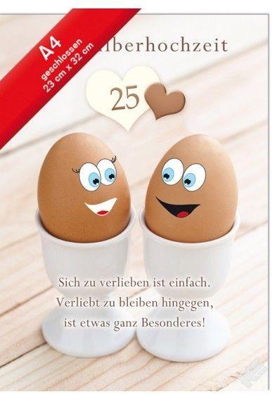 Hochzeitskarte XXL, Silberhochzeit Jumbo- Din A4- Eier mit Gesichter in Eierbecher