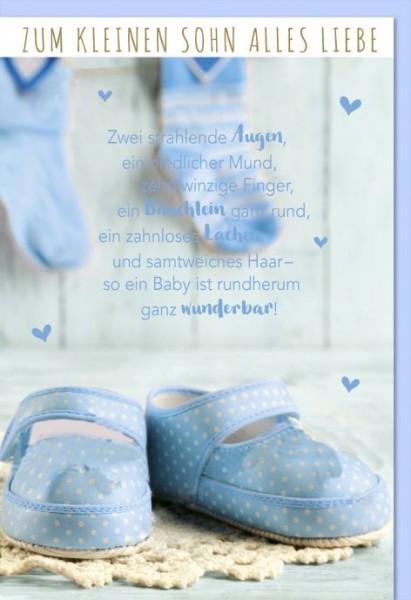 Karte Geburt Motiv 2 kleine hellblaue Schuhe