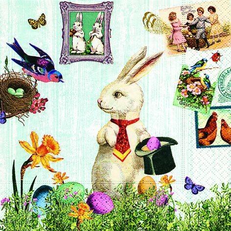 Serviette Ostern 33x33cm Magic Easter Rabbit