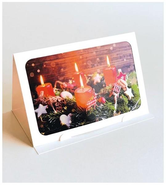 """Lichterzauber Weihnachtskarte """"Adventskranz"""", Stimmungsvolle Handmade Karte"""