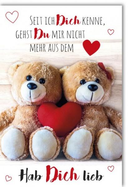 Karte Valentinstag Zwei Bärchen mit Herz