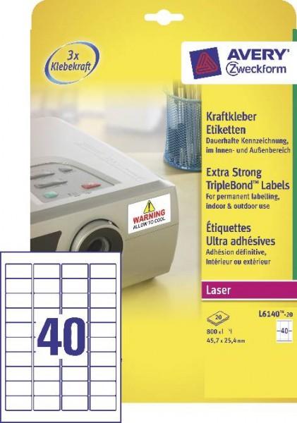 Kraftklebe-Etikett Weiss 45,7X25,4 800ST 20Blatt