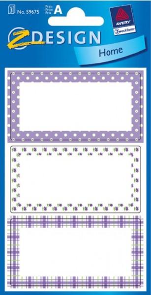 Haushalts-Etikett lila Punkte