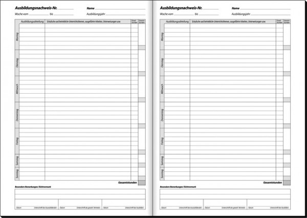 Berichtsheft-Ausbildungs- Nachweis A4 Täglich 28Bl