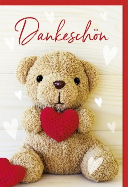 karte dank motiv teddy mit rotem herz  dankeskarten