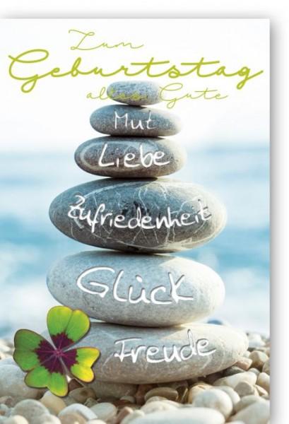 Karte Geburtstag Midi Steine mit Wünschen