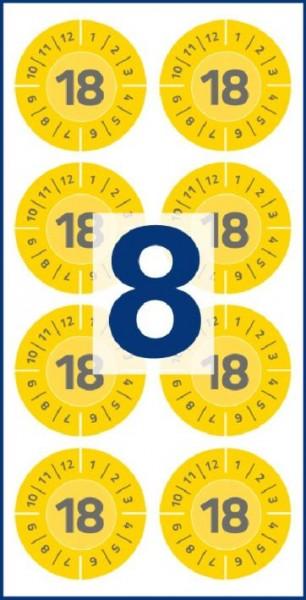 Etikett Prüfplakette 80ST Vinyl 30mm gelb