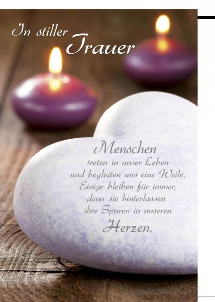 Karte Trauer Motiv Candle and Stoneheart