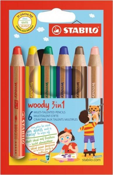 STABILO Woody 3in1 Farbstifte, 6er Schachtel