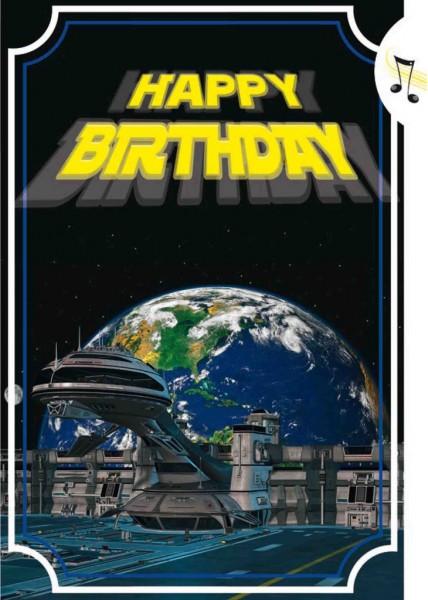 """Geburtstagskarte mit Musik & Licht """"Star Wars"""", Din A5-Laserschwert Musikkarte"""
