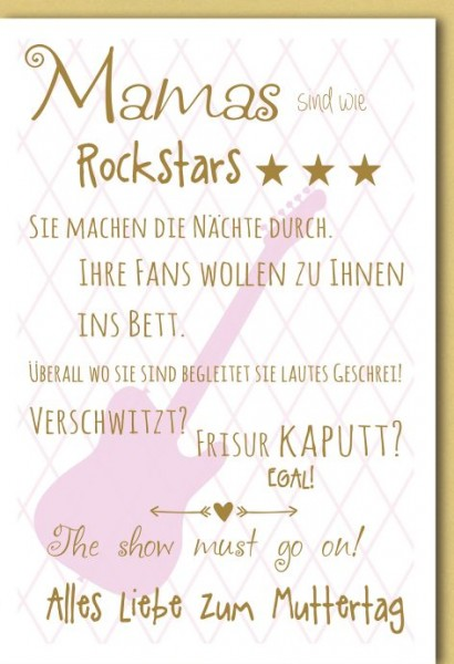 Karte Muttertag Rockstar Mama