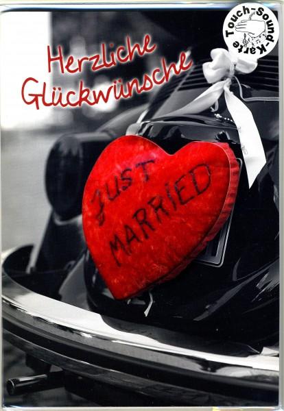 Touch Hochzeitskarte rotes Plüschherz, Karte mit Musik auf Berührung - Love