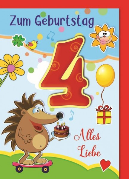Karte Geburtstag Zahl 4 Zahl 4