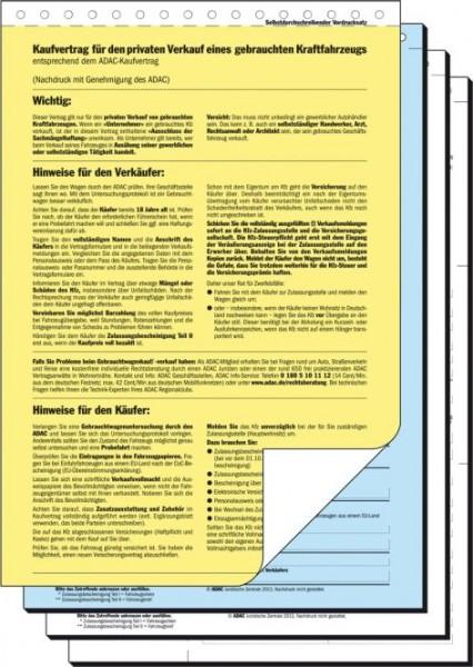 Kfz Kaufvertrag A4 Kv440 Sd Adac Muster 25 St Formulare