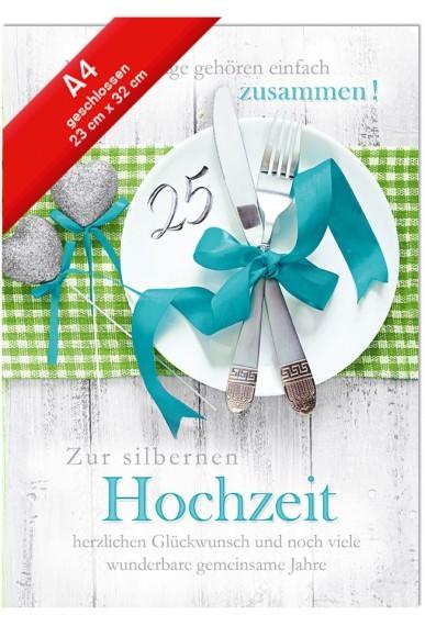 Hochzeitskarte XXL Jumbo - Din A4 - Silberhochzeit - Teller mit Silber