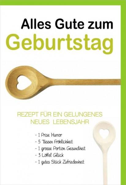 Karte Geburtstag Motiv Rezeptenbuch Kochlöffel