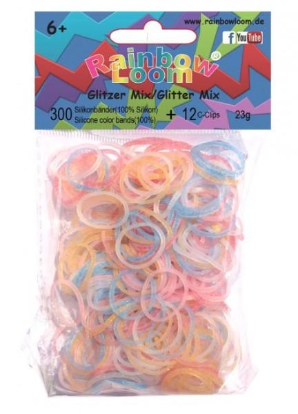 Gummiringe zum Knüpfen Rainbow Looms Glitzer Mix