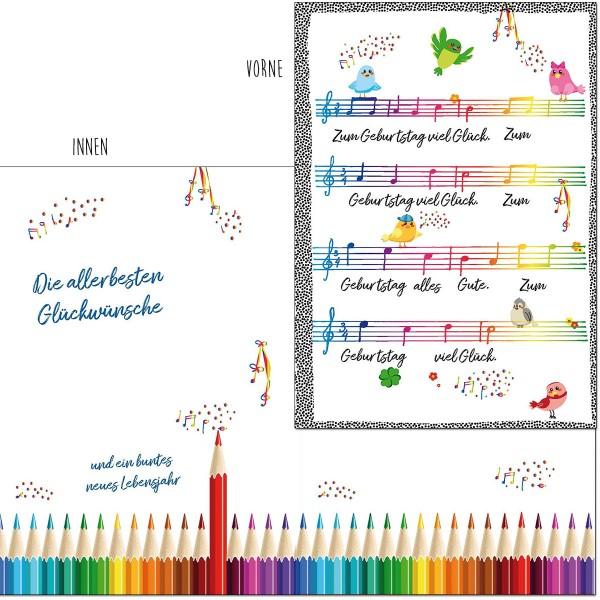 Geburtstagskarte mit Musik, Din A5 - Kindergeburtstag - Viel Glück