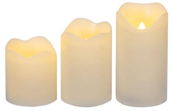 Leuchtkerze mit Echtwachs mit LED flackernd warm
