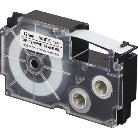 Beschriftungsband 12mm 8m schwarz weiss XR12HMWE