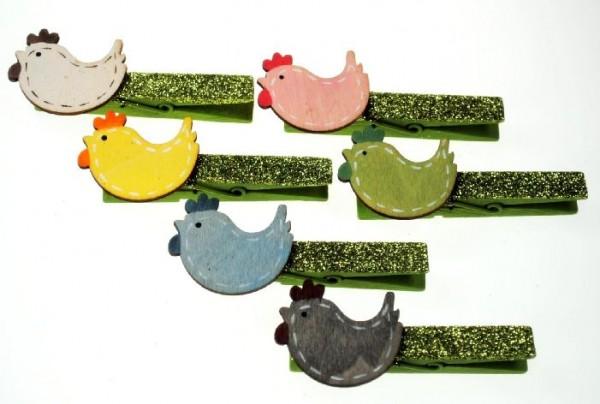 Wäscheklammer Holz grün Glitzer und Holz Huhn