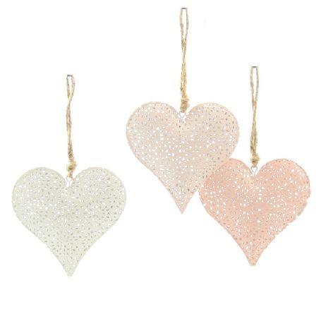 Deko Anhänger Metall Herz 3 Farben weiss, rosa