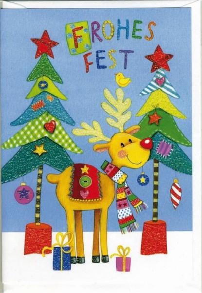 Karte Weihnachten Motiv Hirsch