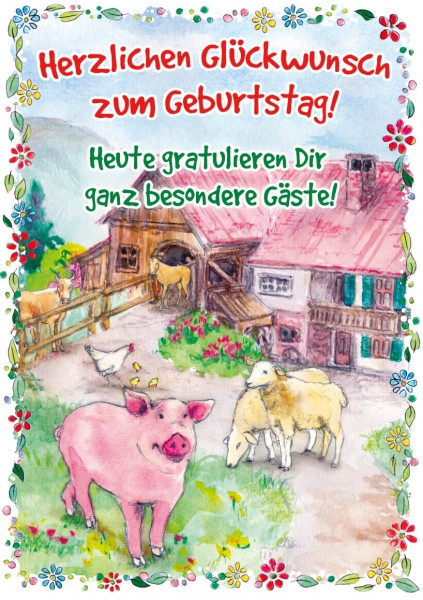 """Great Cards """"Bauernhof - Gratulation von besonderen Gästen"""" - Geburtstagskarte mit Touch"""