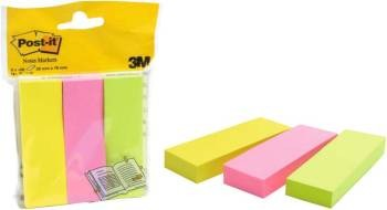 Haftstreifen Post-it Papi, 25x76mm Neon-Bunt 3x100 B