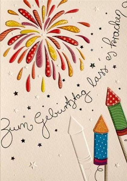 Karte Gruß Geburtstag Patchwork Feuerwerk