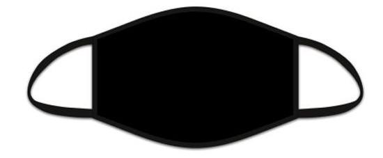 Mund Nasen Maske aus Stoff, uni Schwarz, waschbar bis 70°, kein Medizinprodukt