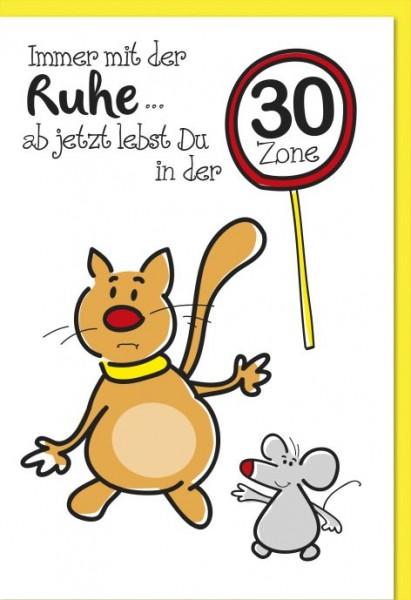 Karte Geburtstag Zahl 30 Katze und Maus