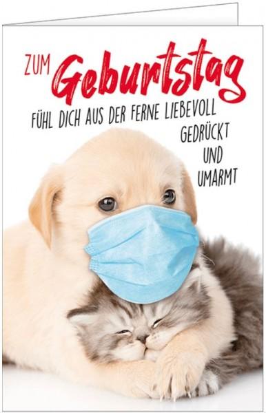 Geburtstagskarte, Hund mit Mundschutz, Viel Glück u. bleib Gesund