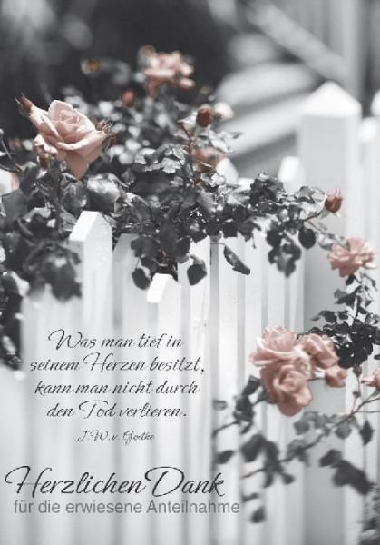Karte Trauer Danksagung rosenbusch vor Zaun