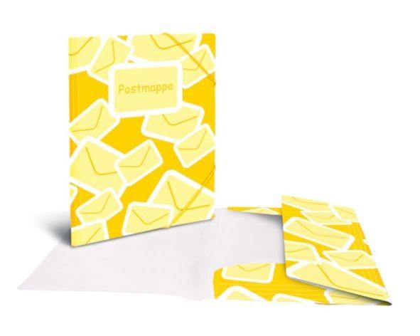 Postmappe PP A4 gelb mit Gummizug 3 Klappen