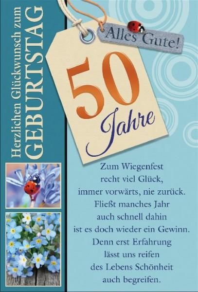 Karte Geburtstag Zahl 50 Blumen Käfer Spruch