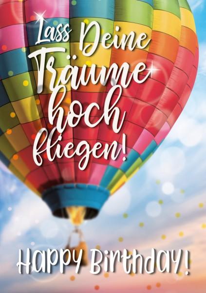 """Great Cards """"Heißluftballon - Lass Deine Träume fliegen"""" zum Geburtstag, mit Musik u. Licht"""